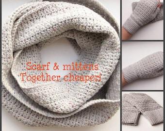 Crochet set, Knit infinity scarf, Set scarf & mitten, Infinity scarf crochet, Scarf mittens set, Crochet circle scarf, Gray infinity scarf.