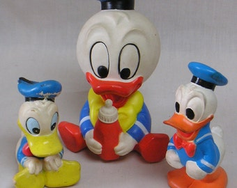 Lot of Three Donald Duck Disney Toys Circa 1950s-80s / Three Rubber Ducks / Vintage Disneyana