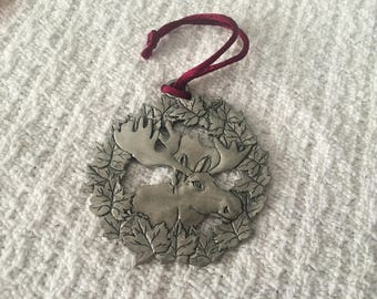 Gibson Pewter, Moose in  Wreath Tree Ornament, Pewter Ornament, Moose Ornament