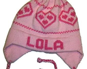 Personalized Earflap Hat - Hearts