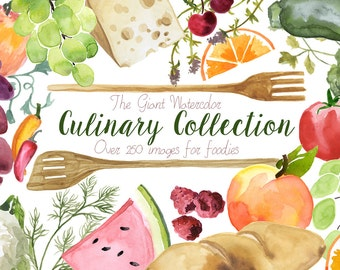 The Culinary Collection, Food Clipart Bundle, Culinary Clipart, Fruit Illustration, Cooking Utensils, Veggie Clipart, Herb Clip Art