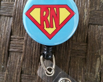 Super Nurse RN ID badge holder/ Retractable Badge Reel