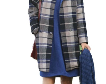 Round neck school style woolen coat