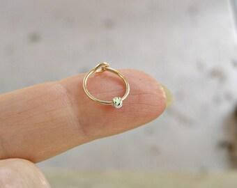 Helix Earring , Cartilage Hoop , Yellow Gold Hoop with Silver Twist Bead , Helix Piercing , Hoop Earring 20ga 8mm/10mm inner diameter SINGLE