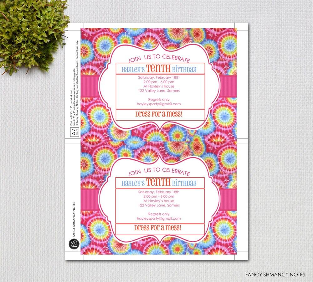 Tie Dye Editable Invitation Template, Instant Download, Digital ...