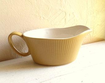 Gravy Boat Mustard Yellow Pottery Mid-Century Ceramic