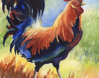 Rooster - Art Print - Watercolor Painting - Signed by Artist DJ Rogers - Animal - Wall Decor