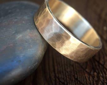 Mens Wedding Band | Gold Ring | Hammered Ring | Mens Wedding Ring | Unique Wedding Band | Gold Jewelry | Wedding Bands | Hammered Gold | 6mm