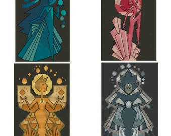 The Diamonds (Steven Universe Cross Stitch)