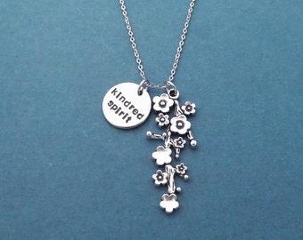 Kindred spirit, Flower, Tree, Silver, Necklace, Birthday, Best friends, Sister, Gift, Jewelry
