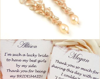 Long Rose Gold Earrings //  Freshwater Pearl Flower Jewelry // 1st Year Anniversary Gift Ideas