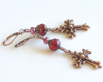 Copper Earrings Deep Red Czech Glass Beads Pink Glass Beads Celtic Crosses Religious Trending Earrings Valentine's Day Gift