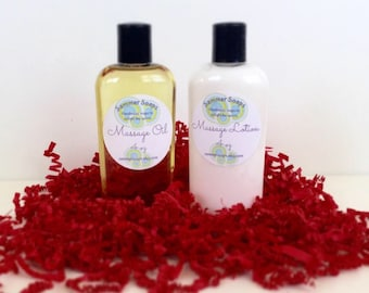 Massage Oil and Massage Lotion Set, Couples Massage Set, Valentine's Day Gift, Romantic Gift Set for Couples, Massage For Lovers, Spa Set