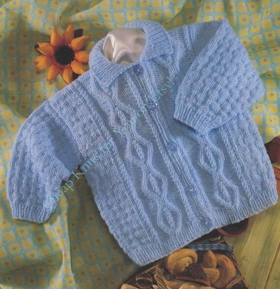 dd93054cabd5 Baby Collared Aran Cardigan   Sweater in DK 8 ply yarn for sizes 18 ...
