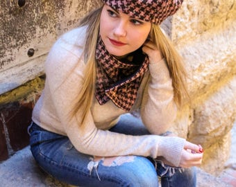 Fabric beret and scarf set. French beret and scarf. Beret hat and scarf. Winter hat and scarf set. Hat and scarf. Womans hat and scarf set.