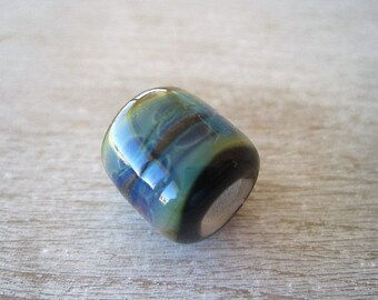 Glass Lampwork Bead 1 Big Hole Bead BHB Purple Blue Tan Raku glass