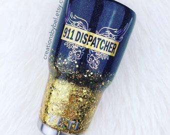 Glitter Yeti / Dispatcher / Thin Gold Line / 911 Dispatcher / Dispatcher Yeti/ First Responder / Police Dispatcher / Law Enforcement / 911