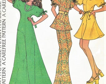 1970s Womens Dolman Sleeve Dress Mini or Maxi & Tunic and Pants McCalls Sewing Pattern 3583 Size 12 Bust 34 FF Stretch Knits Only Patterns