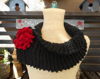 Hand Knit Cowl, Hand Knit Scarf, OOAK, Black Cowl, Gifts for Her