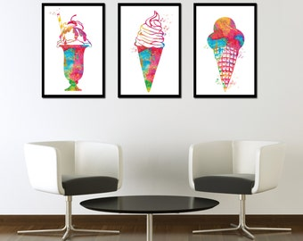 BUY 2 GET 1 FREE! Set of 3 prints Ice cream Desserts Watercolor Print Candy Poster Summer Watercolor Home decor Kitchen Art Food Art Print