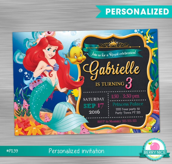 Little mermaid invitation print yourself little mermaid party solutioingenieria Image collections