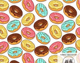 Donut Fabric By The Yard - Doughnut Emoji Icing Sprinkle Print in Yards & Fat Quarter