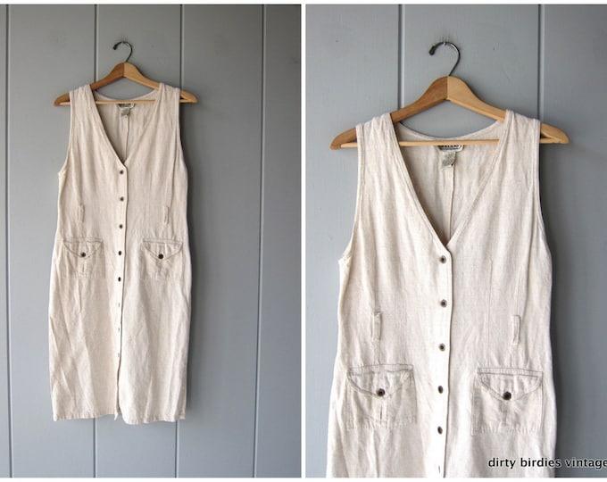 Minimal Market Dress 90s Long Safari Sundress Sleeveless Vintage Modern Button Up Linen Summer Dress Casual Midi w/ Pockets Womens Medium