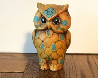 Vintage Owls, Bank, Gold and Blue, 1960s, Owl Decor, Owl Piggy Bank, Kids Room Decor, Toy Room Decor, Made in Japan