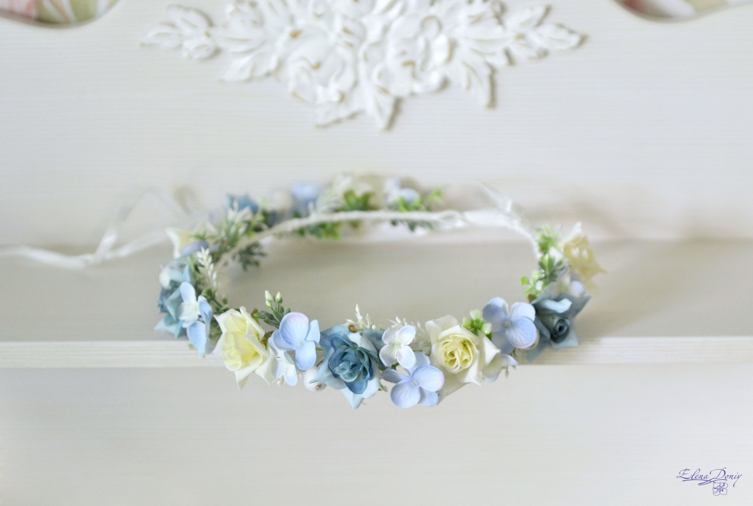 Light blue Crown wedding flower crown Flower Girl halo Blue