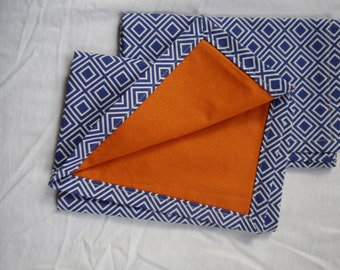 Cloth Napkins - Navy and white with orange backing