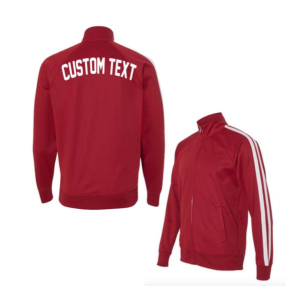 UNISEX CUSTOM Red and White Track Jacket- Poly Active Jacket Unisex- Customize Your Own Track Jacket- Red with White Stripes- Custom rsqu4hq