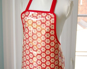 Red Poppy Vinyl Apron - handmade waterproof and wipe clean full apron - fabric with clear vinyl covering