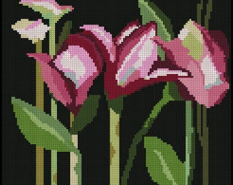 Digital (part 1) Needlepoint Pattern of Pink Day Lilies