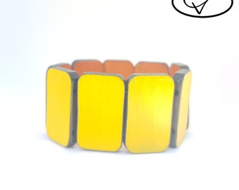 Bracelet wooden reversible yellow / Orange