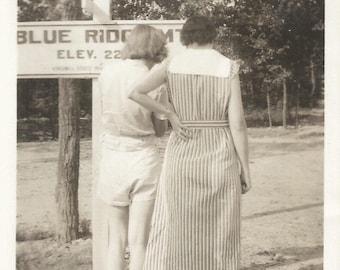 """Vintage Snapshot """"Tourist Info"""" Blue Ridge Mountains Back To Camera 1934 Found Photo"""