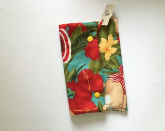 Thick vintage red and green print clutch