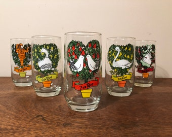 Five 12 Days of Christmas 10 oz High Ball Glasses / Tumblers - Two Turtle Doves, Geese A-Laying, Swans A-Swimming, Maids A-Milking, Pipers