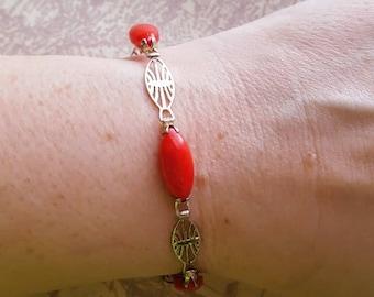 """Vintage Signed GD 925 Sterling Bracelet,Red Lucite Cabochons,Art Nouveau,not scrap,6.75"""",bracelet,marked,open filigree design"""