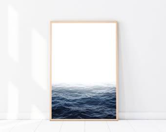 Ocean Photography PRINT, Coastal Decor, Modern Minimalist, Coastal Photography, Scandinavian Wall Art, Seascape Photography, Navy Wall Art