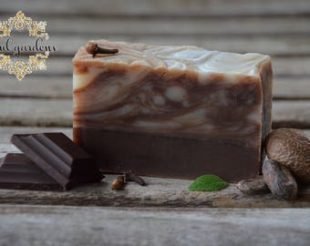 CHOCOLATE all natural homemade soap, cocoa soap, vegan soap, cold process soap, essential oil soap