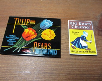 2 Vintage Enameled Refrigerator Kitchen Magnets, Old Dutch Cleanser, Tulip Pears Fruit Crate Label, Vintage Advertising