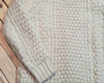 Wool Cabled Crew Neck Sweater