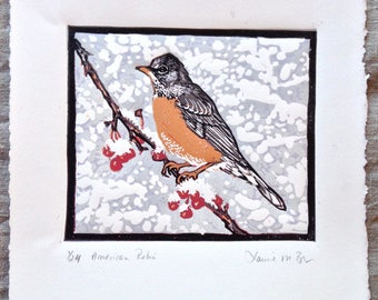 American Robin original lino cut block print, reduction method, limited edition signed, numbered, made in Vermont
