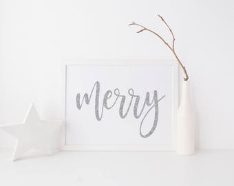 Merry Printable-Merry-Merry Sign-Silver Sparkle Merry Christmas Print-Silver Glitter Typography Christmas Print-Silver Sparkle Glitter Print