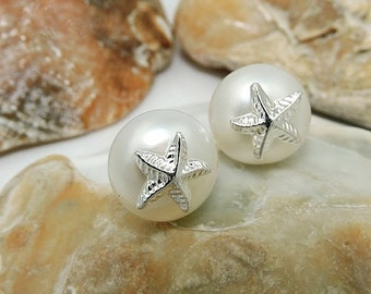 Starfish on Pearl silver 925