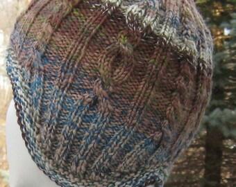 wool earflap hat, hand knit, hand spun