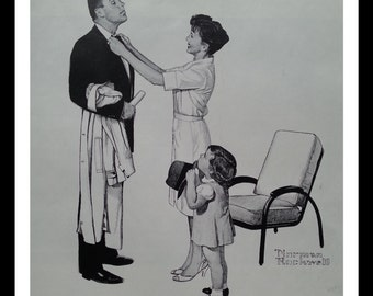 Rockwell Family Wife & Daughter helping Husband Father job/career.  BW Illustration Norman Rockwell.  Cute Family Image.  Ready Framing.