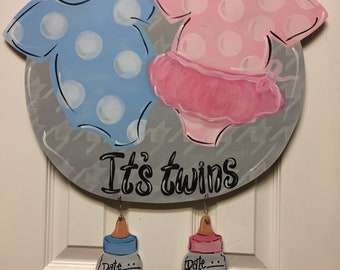 Twins wooden door hanger