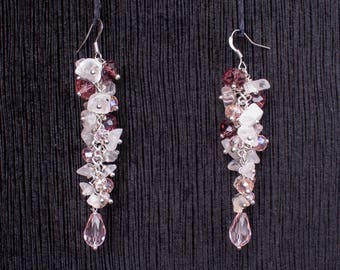 Earrings with Pink Quartz and Crystals Handmade
