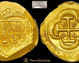MEXICO 1714 8 ESCUDOS NGC 64 finest kn 1715 fleet shipwreck gold treasure cob